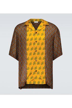 DRIES VAN NOTEN Printed bicolor short-sleeved shirt
