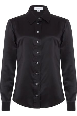 SERENA BUTE The New Serena Fitted Shirt - Black Shiny Silk