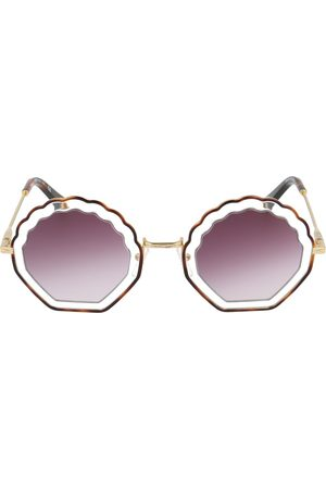 Chloé Scalloped edge round frame sunglasses