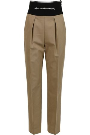 Alexander Wang Straight Leg Trouser With Logo Elastic And Exposed Zip
