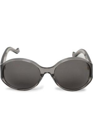 Loewe Round Anagram Sunglasses Shiny Clear Grey