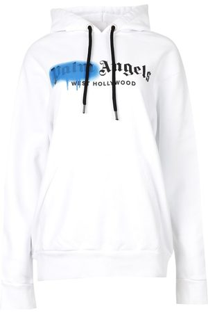 Palm Angels West Hollywood Sprayed Hoodie White And Blue