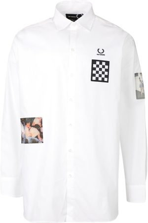 Fred Perry Oversized Patched Long Sleeve Shirt White
