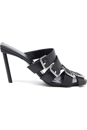 Balenciaga 80Mm Four-Buckle Napa Heel Slide Sandals