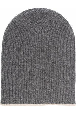 Brunello Cucinelli Grey Ribbed-Knit Beanie