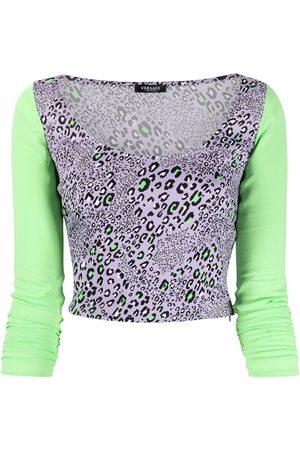 VERSACE Lilac Leopard Print Long-Sleeve Top