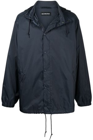 Balenciaga Navy Multi Language Logo Rain Jacket