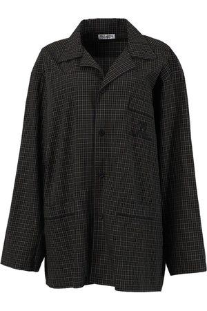 Balenciaga Check Print Pajama Shirt, Dark Navy