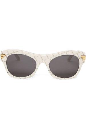 Bottega Veneta Round Cat-Eye Sunglasses White