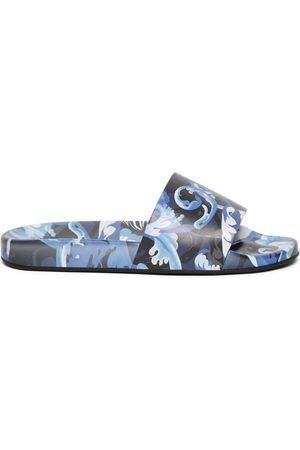 VERSACE Barocco Print Slide Sandals Lapis