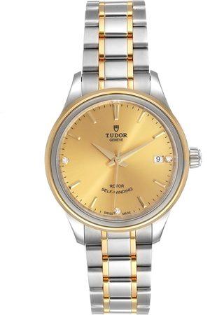 TUDOR Style Date Champagne Dial Diamond Steel Ladies Watch M12303 Unworn