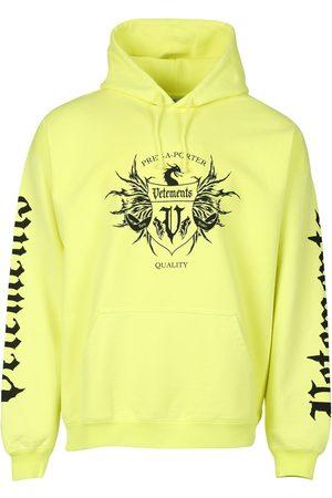 Vetements Label Hoodie Neon Yellow