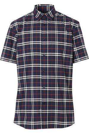 Burberry Navy Check Short-Sleeve Shirt