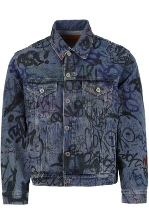 Vetements Graffiti Print Denim Jacket , Blue