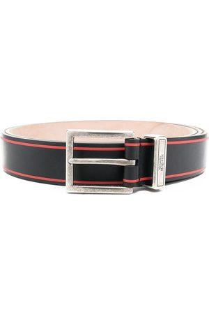 Alexander McQueen Leather Logo Print Tonal Buckle Belt