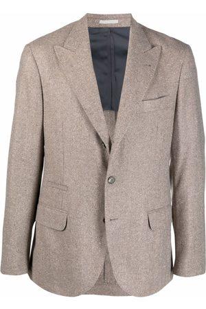 Brunello Cucinelli Chevron Knit Wool-Cashmere Blazer