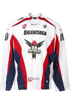 Balenciaga Long Sleeve Hockey Shirt White Red And Blue