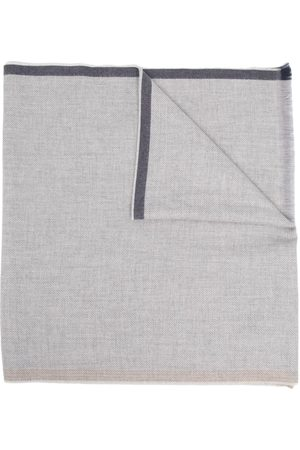 Brunello Cucinelli Grey Frayed Edge Wool Scarf