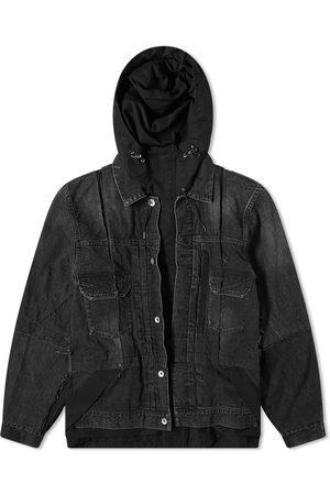 SACAI Men Denim Jackets - Denim Hooded Coat