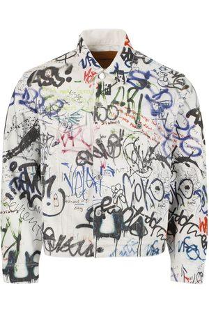 Vetements Graffiti Print Denim Jacket , White