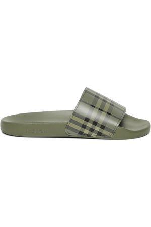 Burberry Check Print Slide Sandals Military