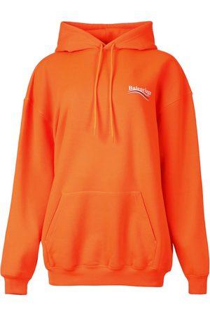 Balenciaga Logo Graphic Hoodie Fluorescent Orange