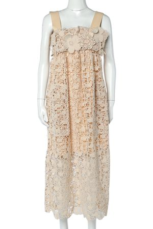 Chloé Delicate Brown Floral Guipure Lace Sleeveless Shift Dress S