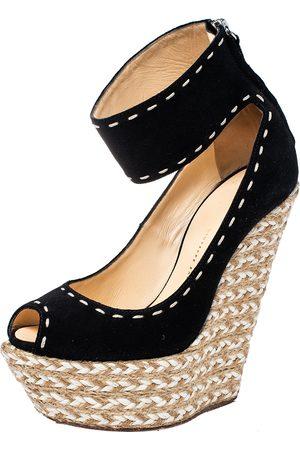 Giuseppe Zanotti Suede Peep Toe Wedge Espadrille Ankle Wrap Sandals Size 37