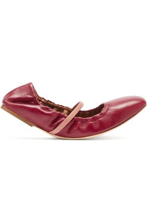 MALONE SOULIERS Cher Leather Ballet Flats - Womens - Burgundy