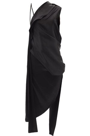 MARQUES'ALMEIDA Women Asymmetrical Dresses - Asymmetric Draped Silk-satin Midi Dress - Womens