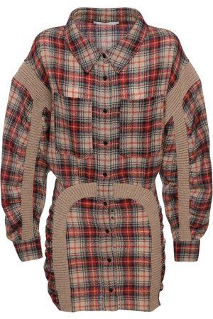 Stella McCartney Wool Checked Mini Dress W/ Knit Details