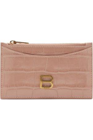 Balenciaga Women Purses - Hourglass Zipped Croc-effect Leather Cardholder - Womens