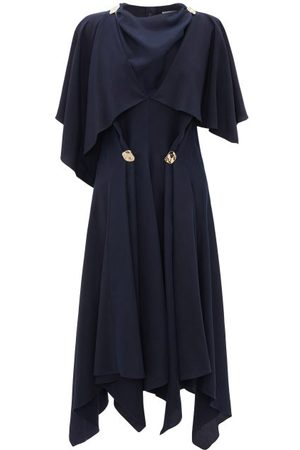J.W.Anderson Cape-sleeve Embellished Cupro Midi Dress - Womens - Navy