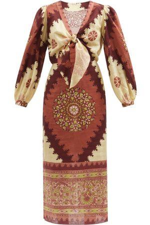 JOHANNA ORTIZ Sacred Soul Abstract-print Linen Midi Dress - Womens