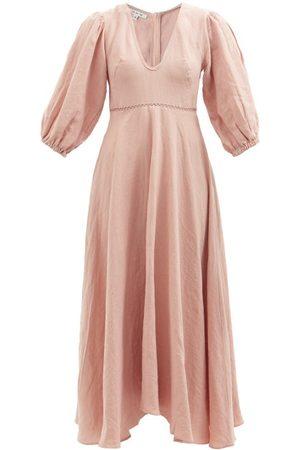 Fil De Vie Market Puff-sleeve Linen Midi Dress - Womens - Light
