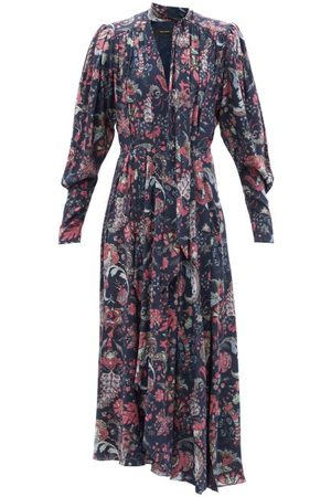 Isabel Marant Women Printed Dresses - Bisma Floral-print Tie-neck Silk-blend Dress - Womens - Navy Multi