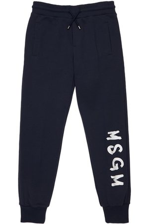 Msgm Girls Sweatpants - Logo Print Cotton Sweatpants