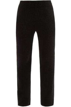 THE ELDER STATESMAN Ribbed-knit Cashmere Flared-leg Trousers - Womens