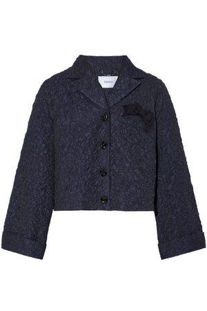Erdem Waneta Cropped Cloqué Jacket - Womens - Navy