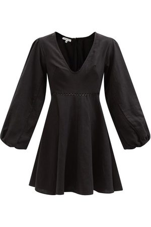 Fil De Vie Women Mini Dresses - Montauk Bar-embroidered Linen-canvas Minidress - Womens