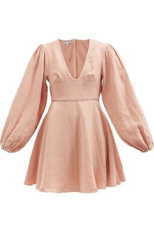 Fil De Vie Women Party Dresses - Montauk Balloon-sleeve Linen Mini Dress - Womens - Light