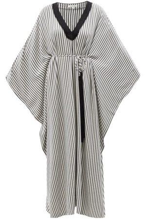Fil De Vie Women Beach Dresses - Woolf Embroidered Striped Voile Kaftan - Womens - Stripe