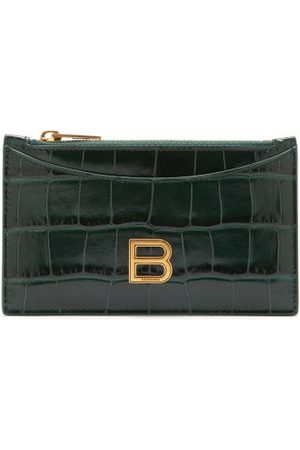 Balenciaga Women Purses - Hourglass Zipped Croc-effect Leather Cardholder - Womens - Dark