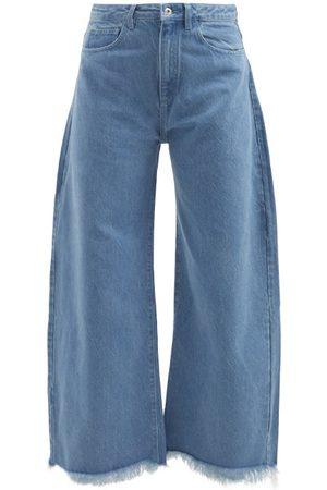 MARQUES'ALMEIDA Frayed-cuff Wide-leg Jeans - Womens - Light Denim