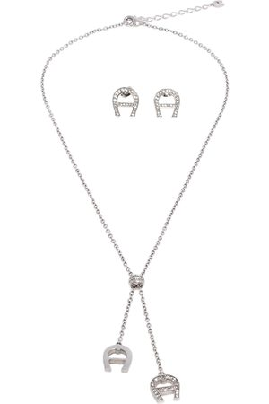 Aigner Crystal Logo Tone Earrings and Necklace Set