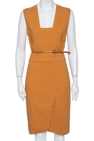 Elie saab Women Sleeveless Dresses - Camel Crepe Pleated Detail Belted Sleeveless Dress S