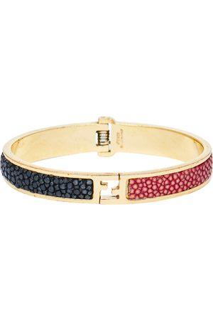 Fendi The sta Bicolor Stingray Leather Gold Tone Bracelet S
