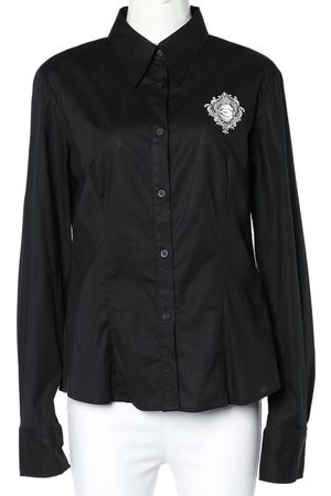 Roberto Cavalli Logo Print Cotton Long Sleeve Shirt L