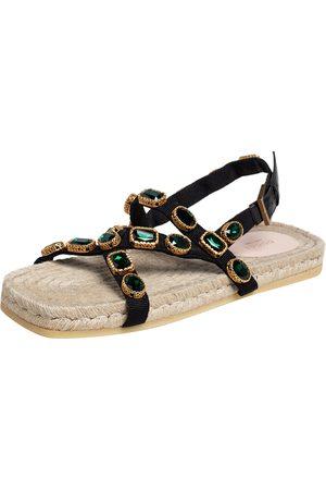 Gucci /Green Canvas Grosgrain Espadrille Flat Sandals Size 41