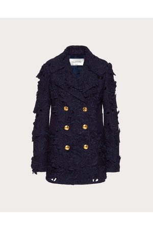 VALENTINO Women Coats - Embroidered Pea Coat In Carving Felt Women 56% Cotton 17% Mohair 10% Modal 36